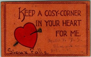 Vintage SIOUX FALLS South Dakota LEATHER Greetings Postcard Red Heart w/ Cancel