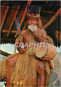 Postcard Modern Peru peruvian amazon indian yagua with music instruments