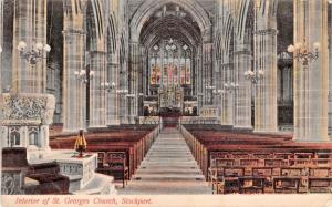STOCKPORT CHESHIRE UK~INTERIOR OF ST GEORGES CHURCH POSTCARD 1904 PMK