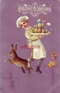 embossed EASTER GREETINGS 1909 dancing with colored eggs