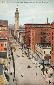 Denver Colorado~16th St @ Glenarm Street~Scholtz Drug~Clock Tower~Trolley~1921