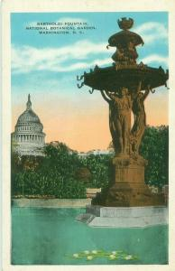 Bartholdi Fountain, National Botanical Garden Washinton DC White Border Postcard