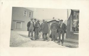 Delaval Separator Co~Minnesota~On Store~Group Of Men in Snow~Gasoline~1920s RPPC