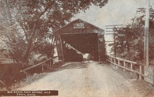 Troy Ohio birds eye view Old Broad Ford Bridge antique pc ZD686028