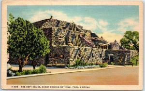 Grand Canyon National Park Postcard THE HOPI HOUSE Fred Harvey Linen 1941 Cancel
