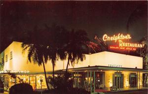 Fort Lauderdale Florida~Creighton's Restaurant @ Night~Gift Shop~1950s Postcard
