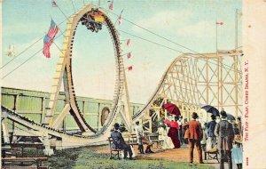NEW YORK~CONEY ISLAND AMUSEMENT RIDE FLIP FLAP~1910s POSTCARD