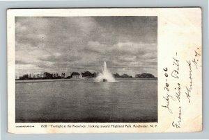 Rochester NY, Twilight At Reservoir, Highland, Vintage New York c1906 Postcard