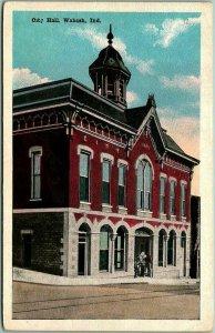Wabash, Indiana Postcard CITY HALL Building / Street View Kropp c1920s Unused