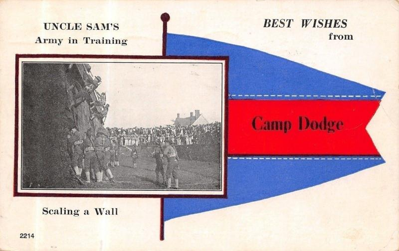 Camp Dodge Iowa~Uncle Sams Army Scaling a Wall~Pennant Postcard~1918 Military PM