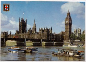 LONDON, The Houses of Parliament and River Thames, unused Postcard