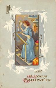 Halloween~Lovely Lady Climbs Cellar Steps~Mirror & Candlestick~White Emboss~345F