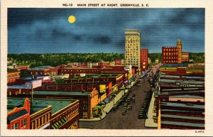 Greenville SC Main Street at Night Postcard unused 1930s/40s