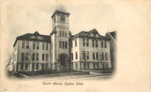 c1905 Lithograph Postcard Court House Ogden UT Weber County Posted