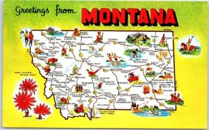 MONTANA State Map / Big Letter Postcard w/ State Flower Bitterroot 1964 Cancel
