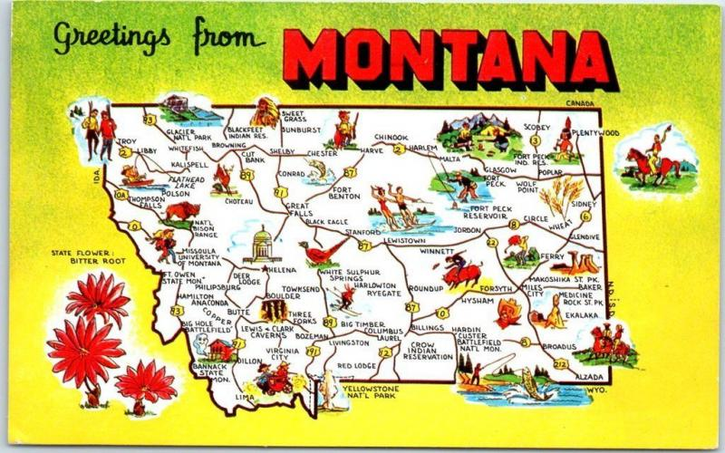 MONTANA State Map / Big Letter Postcard w/ State Flower ...