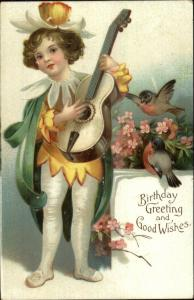 Boy in Flower Costume w/ Guitar c1910 Embossed Birthday Postcard