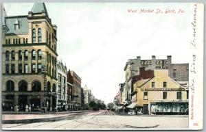 YORK PA  WEST MARKET STREET 1907 ANTIQUE POSTCARD