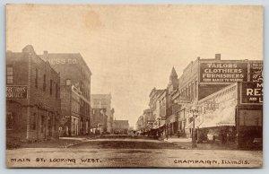 Champaign Illinois~Main Street Stores~Kuhn~Varsity~Martens Restaurant~c1910