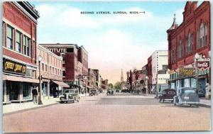 Alpena, Michigan Postcard SECOND AVENUE Downtown Street Scene Linen 1940s Unused