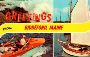 Maine Biddeford Greetings With Boating Scenes 1971