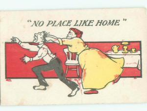 Pre-Linen Comic WIFE PULLING HUSBAND BY THE HAIR AB9013