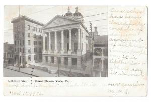 York PA Court House Vintage L B Herr Print Postcard