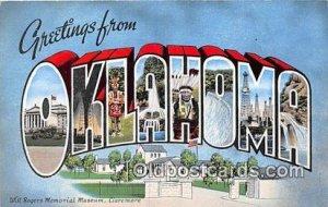 Large Letter State Linen Oklahoma, USA Unused