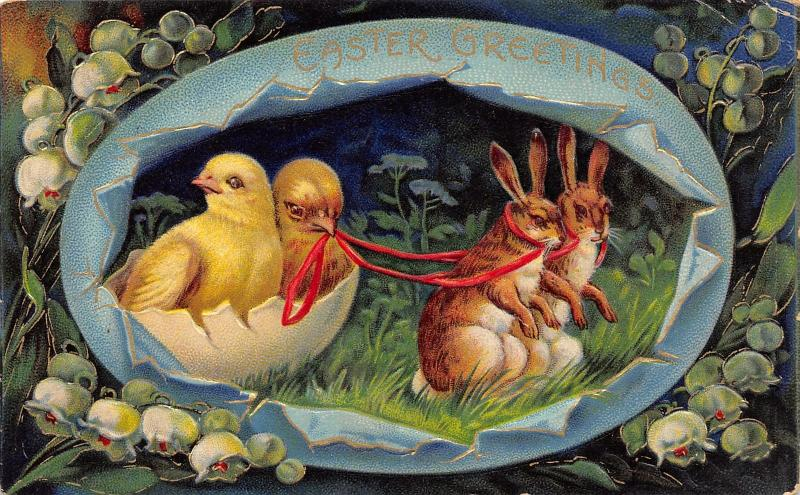 Easter Egg Panorama~Upright Rabbit Pair Pull Chicks in Eggshell~Gold Leaf~1520a