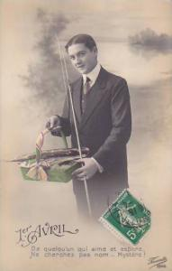1er Avril April Fool's Day Man With Fishing Rod Holding  Basket Of Fish 1915