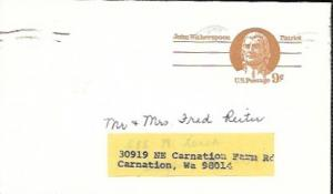 US used Pre-stamped Postcard UX69 John Witherspoon, Patriot