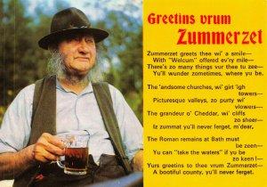 Postcard Greetins Vrum Zummerzet, Greetings from Somerset Verse Poem 40X
