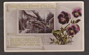 Birthday Greetings - Woman. Cottage & Flowers - Used 1911 - Creases