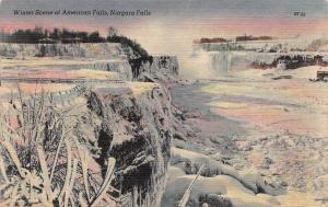 Winter Scene, American Falls, Niagara Falls, N.Y., Early Postcard, Used in 1949