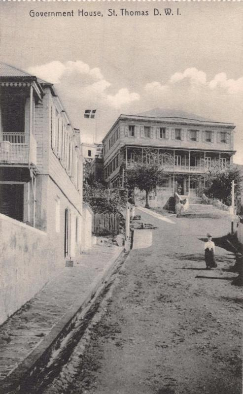 ST THOMAS DANISH WEST INDIES~GOVERNMENT HOUSE~LIGHTBOURNS PHOTO POSTCARD 1910s
