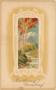 Autumn Trees~Red Gold Leaves~Snow Cap Mountain~Stream~White Emboss Frame~1908 PC