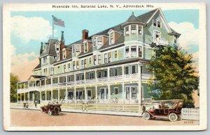 Saranac Lake~Adirondack Mountains NY~Riverside Inn~Resort Hotel~1920s Cars