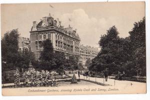 Embankment Gardens, Hotels Cecil & Savoy, London