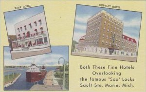 Michigan Marie Park Hotel and Ojibway Hotel Both Thoese Fine Hotels Overlooki...