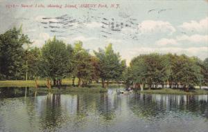 Sunset Lake, Showing Island, Asbury Park, ASBURY, New Jersey, PU-1910