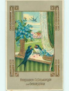 Pre-Linen foreign GERMAN BIRDS IN THE WINDOW WITH FORGET-ME-NOT FLOWERS HJ4496