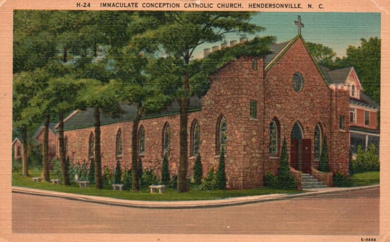 Hendersonville, NC, Immaculate Conception Catholic Church, Linen Postcard g8540