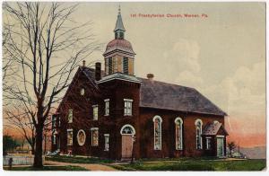 Mercer PA 1910 1st First Presbyterian Church Mercer County RARE Hamm DB Postcard