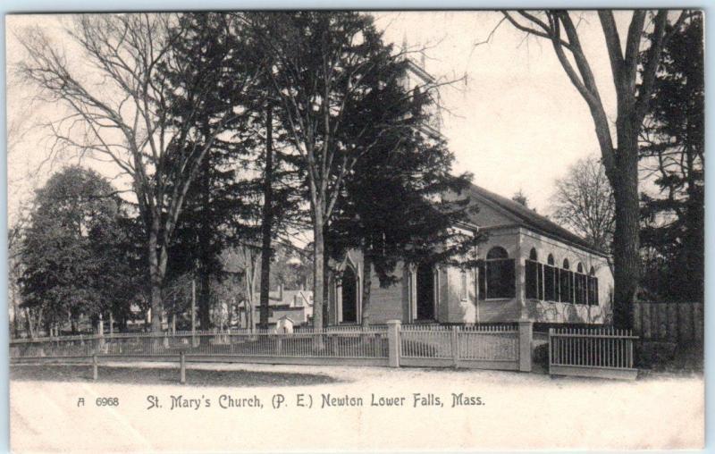 NEWTON LOWER FALLS, Massachusetts  MA    ST. MARY'S CHURCH  c1900s UDB  Postcard
