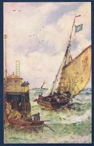 Off to Sea Sailing Dock Rough Waters unused c1910's