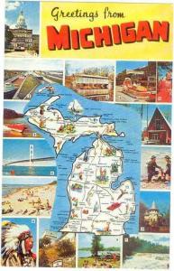 Greetings from Michigan Map Card MI