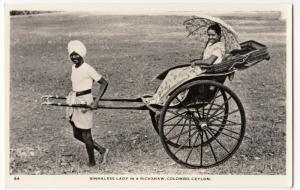 Sri Lanka  Ceylon; Sinhalese Lady In Rickshaw, Colombo RP PPC, Unused, c 1950's