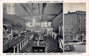Angola Indiana~Bassett's Restaurant~Soda Fountain~Lunch Counter~B&W 1940s PC