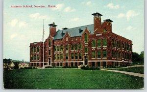 Newton Massachusetts~Stearns School~Flag Pole~c1910 Postcard