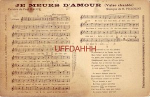 JE MEURS D'AMOUR (Valse chantee) Paroles de PAUL HALDY Musique de H. PICCOLINI